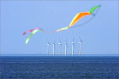 A kite flying infront of North Hoyle offshore windfarm near Prestatyn, in North Wales. - Christopher Thomond - 24-06-2009