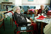 Elderly people attending a council run day centre Camden - Duncan Phillips - 2000s,2002,adult,adults,age,ageing population,BREAK,centre,council,Council Services,Council Services,cup of,day,DINNER,dinners,DINNERTIME,eating,elderly,EMOTION,EMOTIONAL,EMOTIONS,female,food,FOODS,HA