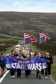 Bruce Kent, CND Chair Carol Naughton and other CND members leading the anti Star Wars demonstration towards Fylingdales RAF base on 15th June 2002 - David Bocking - 15-06-2002