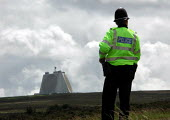 Police on duty in front of the radar building at the CND anti Star Wars demonstration at Fylingdales RAF base on 15th June 2002 - David Bocking - 15-06-2002