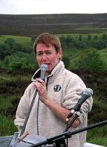 CND Chair Carol Naughton speaking at the CND anti Star Wars demonstration at Fylingdales RAF base on 15th June 2002 - David Bocking - 15-06-2002