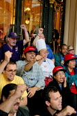 Hotel workers stage a demonstration in the entrance of the Palace Hotel, where 68 people are arrested. The hotel union, UNITE HERE Local 2, has been negotiating for over two years with thirteen San Fr... - David Bacon - 31-08-2006