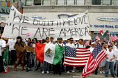 May Day protest by immigrants and their supporters which filled the streets of Los Angeles twice in one day Marchers of all races and nationalities protested the bills in Congress that would criminali... - David Bacon - 01-05-2006