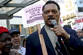 Rev. Jesse Jackson rallies with locked out and striking San Francisco hotel workers, members of HERE/UNITE Local 2, in Union Square. The union struck four hotels on September 28. Ten other hotels, inc... - David Bacon - 2000s,2004,activist,activists,AFL CIO,AFL-CIO,African American,African Americans,african-american,against,America,BME Black minority ethnic,CAMPAIGN,campaigner,campaigners,CAMPAIGNING,CAMPAIGNS,cuts,D