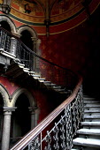 The stairways in the Midland Grand Hotel, built in St. Pancras Station at the terminus of the Great Midland Railway in London in 1969. - David Bacon - 2000s,2005,ACE,ace art arts,architecture,arts,bannister,Barlow,buildings,cities,city,culture,grand,hotel,HOTELS,London,Midland,Pancras,RAIL,railway,RAILWAYS,St.,stair,staircase,stairs,Station,STATIONS