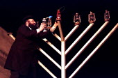 Sheffield's Orthodox Rabbi lighting the Menorah in the civic Channukah ceremony in Sheffield city centre - David Bocking - 20-12-1998
