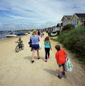 Mudeford, Christchurch, Dorset, seen during the summertime, showing it's beach huts and holiday makers. - David Mansell - 10-10-2001
