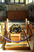 A coffin inside the chapel of rest at a funeral service, at the local authority crematorium in Bournemouth. - David Mansell - 09-10-2008