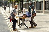 The performance artists known as Lone Twin, during their art creation called Spiral. This was a seven day walk, travelling a spiral journey through the concrete environment of the Barbican from the tu... - David Mansell - 10-06-2007