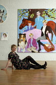 Stella Vine with her painting of Princess Diana with Prince Charles and young Princes William and Harry, within her exhibition at the Modern Art Oxford.  The Artist Stella Vine's - David Mansell - 12-07-2007