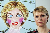 Stella Vine with her painting of Princess Diana, within her exhibition at the Modern Art Oxford.  The Artist Stella Vine's - David Mansell - 12-07-2007