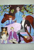 A painting of Princess Diana with Prince Charles and young Princes William and Harry, within Stella Vine's exhibition at the Modern Art Oxford.  The Artist Stella Vine's - David Mansell - 12-07-2007