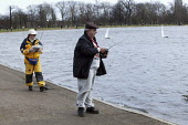 Members operating their radio controlled yacht sailing boats while taking part in the Model Yacht Sailing Association, MYSA Round Pond Cup, at The Round Pound, Hyde Park, London. Ten Rater Class of mo... - David Mansell - 08-03-2009
