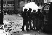 Rioting, The Bogside, Derry, Northern Ireland 1981 after the death of IRA prisoner Bobby Sands on hunger strike. The IRA prisoner Bobby Sands started his hunger strike on 1st March and died 66 days la... - David Mansell - 1980s,1981,aim,aiming,animal,animals,armed forces,armed weapon weapons,armoured vehicle armoured personnel carrier,arms,arms armed,army,attack,attacking,baton,British Army military soldier soldiers,bu