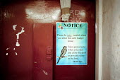 A day in the life of the inmates and staff of Kingston Prison, Portsmouth. A notice on the outside of a cell warning the prison guards to take care when opening the door as the prisoner's budgie is fl... - David Mansell - 16-01-2001