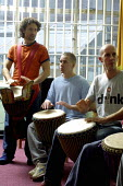 A drumming workshop at Aylesbury Young Offenders intitution organised by Live Music Now and the Jerwood Foundation. - David Mansell - 01-11-2002
