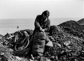Seacoalers, men collecting sea coal, Seaton, Sunderland - David Mansell - ,1970s,1977,bag,bags,by hand,coal,Coal Industry,coalindustry,collecting,collecting sea coal,EBF,Economic,Economy,employee,employees,Employment,Informal Economy,job,jobs,lbr,male,man,men,OCEAN,people,p
