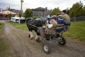 Country Fair Day, The Ballinasloe Horse Fair, County Galway, Ireland. Father and his seven children squeezed onto their family horse and cart as a special family treat on a quiet Friday afternoon - David Mansell - 29-09-2012
