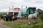 Appleby Horse Fair, Cumbria, The Classic Cafe marks the start of Flashing Lane - David Mansell - ,2010s,2015,animal,animals,BAME,BAMEs,BME,bmes,Cafe,cafes,caravan,caravans,catering,diversity,domesticated ungulate,domesticated ungulates,equestrian,equine,ethnic,ethnicity,Fair,Flashing,gipsey,Gipse