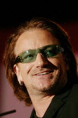 Bono lead singer from the Irish rock group U2 speaking at the Labour Party Conference Brighton 2004 - David Mansell - 2000s,2004,Conference,conferences,Irish,mp,Party,pol politics,singer,SPEAKER,SPEAKERS,speaking,SPEECH