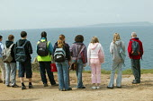 School pupils studying GCSE geography on a weekend field course at the World Heritage Site, known as Jurassic Coast, on th Cliffs and coast line of Durdle Door, Dorset. - David Mansell - 15-05-2005