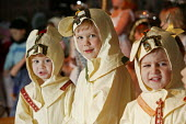 Four and five year old nursery preschool children who attend the Springfield Primary School, Welwyn Garden City, Hertfordshire, are seen taking part in a Christian Christmas nativity play, the boys ar... - David Mansell - 2000s,2005,ACE arts culture,boy,boys,CARE,carer,carers,child,CHILD CARE,CHILDCARE,CHILD-CARE,CHILDHOOD,CHILDMINDING,children,Christmas,CRECH,creche,creches,cute,day care,daycare,EARLY,early years,edu