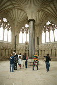 Tourists visiting The Chapter House at Wells Cathedral, Somerset. - David Mansell - 2000s,2007,ACE,ace culture,adult,adults,Andrew,architecture,arts,attraction,attractions,building,buildings,Cathedral,Cathedrals,ceiling,ceilings,Church,Church of England,churches,couple,couples,cultur