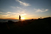 Jogger at sunset, Mount Tamalpais State Park, San Francisco, USA - David Bacon - ,2000s,2007,America,American,americans,bay,exercise,exercises,exercising,getting fit,jogger,joggers,jogging,keep Fit,keeping fit,LFL Leisure,Mt Tamalpais,run,runner,runners,running,San Francisco,sky,S