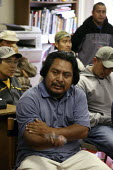 The weekly day labor assembly. Graton Day Labor Cente, Sonoma County, California, Most are migrants from Oaxaca. The center is democratically run, and each week the workers have an assembly where anyo... - David Bacon - 21-07-2009
