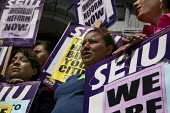 San Francisco janitors, protesting the firing of 475 workers. Immigration and Customs Enforcement told the workers' employer, ABM building maintenance company, to sack them because they lacked legal i... - David Bacon - 26-04-2010
