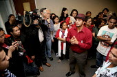 Immigrants and community activists protest against cooperation between police and immigration agents in arresting people for deportation in front of the office of California Attorney Jerry Brown. They... - David Bacon - 29-07-2010