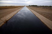 An irrigation canal near the US Mexico border. In the Yuma Valley hardly any water flows in the old watercourse of the Colorado River, almost all has been diverted to provide water for cities like Las... - David Bacon - 04-12-2010