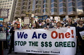 Union members march through downtown San Francisco to protest at attacks on public sector unions in Wisconsin and other states, and cuts in public services. This was one of hundreds of rallies in soli... - David Bacon - 04-04-2011