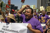 Los Angeles janitors, members of SEIU, protest the sacking of immigrant workers by Able Building Maintenance. The company has sacked workers whose immigration status the company questions, even though... - David Bacon - 2010s,2011,activist,activists,America,American,americans,BAME,BAMEs,BME,bmes,Building,BUILDINGS,CAMPAIGN,campaigner,campaigners,CAMPAIGNING,CAMPAIGNS,cleaner,cleaners,cleaning,cleansing,company,DEMONS