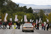 Members of the California Faculty Association on strike and with the support of students shut down the California State University East Bay campus in Hayward. The faculty members have been trying to n... - David Bacon - 17-11-2011