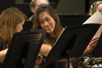 Musicians playing in the Cabrillo College Orchestra. VAPA, California - David Bacon - 13-05-2012