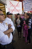 California USA Laura Robledo, Mexican supermarket workers and UFCW organisers protest against sexual harassment at the Mi Pueblo chain. Robledo worked at the San Jose store and was sacked after she co... - David Bacon - 14-02-2013