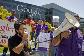 MOUNTAIN VIEW California: Security guards, members of the SEIU, and supporters from the Netroots Nation convention in San Jose demonstrate at Google Corp., protesting against the company contractor, S... - David Bacon - 06-06-2013