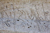Lava Beds National Monument, California- Petroglyphs carved into the rockface of Petroglyph Point by the ancestors of the Modoc people, Paleoindians. They were carved at a time when the rock was an is... - David Bacon - 15-08-2013