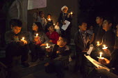 California USA Immigrants and immigrant rights activists celebrate the Christmas Las Posadas or festival of acceptance at a Presbyterian church, in a candlelight vigil and teatro nativity play acting... - David Bacon - 18-12-2014