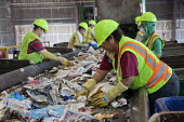 California- Workers at the recycling sorting facility of Alameda County Industries sort and process paper, cardboard, plastic, glass and metal from trash collected in local cities. - David Bacon - American,2010s,2015,ACI,Alameda,America,American,americans,belt,by hand,capitalism,capitalist,cardboard,conveyer,County,dirt,EBF,Economic,Economy,FACTORIES,factory,garbage,glass,glasses,gloves,goggles