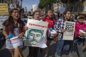 San Fancisco: Students of the Ayotzinapa Raul Isidro Burgos Rural Teachers' College in Iguala, Guerrero, Mexico, and the parents of two others, march with supporters in San Francisco to protest at the... - David Bacon - 04-04-2015