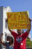 California, Kill Poverty, Fast food workers demanding 15 an hour minimum wage and union rights in a global day of action. USA - David Bacon - 15-04-2015