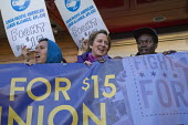 USA, SEIU Pres Mary Kay Henry in a protest at a McDonalds fast food restaurant, workers calling for 15 an hour minimum wage and union rights in a global day of action. Asian American and Pacific Islan... - David Bacon - 15-04-2015
