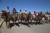 Cananea, Sonora, Mexico, Striking miners on horseback at the Cananea copper mine occupying a pumping station, which has shut down mine operations. They are joined by residents and farmers of towns on... - David Bacon - 26-03-2015