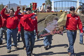 Cananea, Sonora, Mexico, Striking miners march at the Cananea copper mine occupying a pumping station, which has shut down mine operations. They are joined by residents and farmers of towns on the Son... - David Bacon - 26-03-2015
