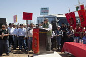 Cananea, Sonora, Mexico, Sergio Tolano head of Section 65 of the miners union, Los Mineros speaking at a rally. Striking miners march at the Cananea copper mine occupying a pumping station, which has... - David Bacon - 26-03-2015