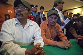 Mexico, Fermin Salazar, Juan Hernandez, Fidel Sanchez, leaders of The Alianza at a press conference to announce the results of the negotiation with the government to increase wages of farm workers. Th... - David Bacon - 04-06-2015