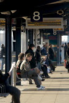 Passengers at station, East London - Duncan Phillips - 2000s,2007,adult,adults,C2C,cities,city,commute,commuter,COMMUTERS,COMMUTING,EBF,Economic,Economy,express,infrastructure,journey,journeys,london,MATURE,national,network,passenger,passengers,people,pla
