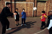 Local Children practicing ball skills on a football training session Kings Cross London - Duncan Phillips - 15-05-2000